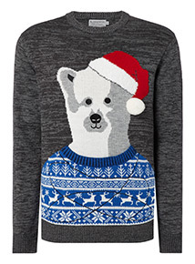 Grey Christmas 3D Bear Embroidered Jumper