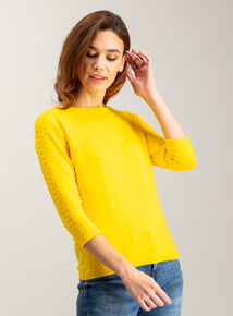 Online Exclusive Bright Yellow Bobble Textured Jumper