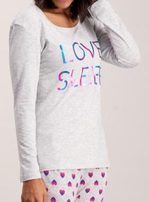 Grey 'Love Sleep' Print Pyjamas
