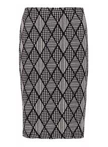 Monochrome Diamond Check Pencil Skirt