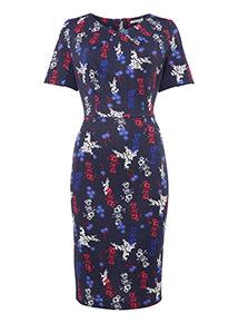 Multicoloured Floral Printed Illusion Dress