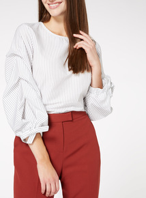 Pinstripe Ruffle Sleeve Top