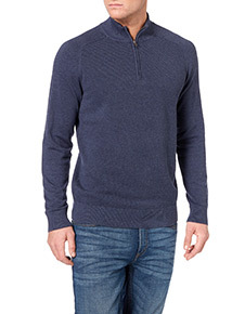 Blue Pique Stitch Half Zip Jumper