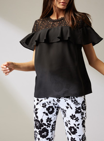 Premium Black Lace Yoke Top