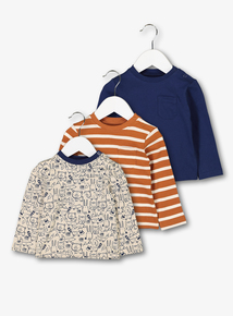 Multicoloured Woodland Friends Tops 3 Pack (0 - 24 months)