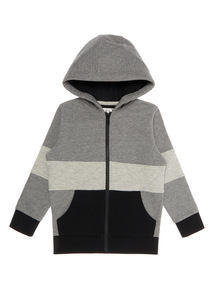 Boys Grey Ribbed Panel Hoodie (3 - 14 years)