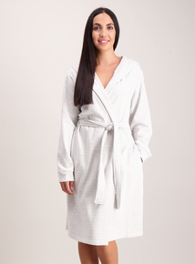 Grey Jersey Hooded Dressing Gown