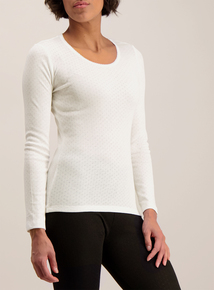 Cream Thermal Pointelle Long Sleeve Top