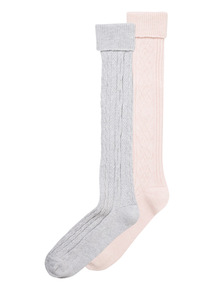 Pink Knee High Cable Socks 2 Pack
