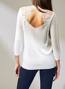 Online Exclusive Premium White Lace Back Jumper
