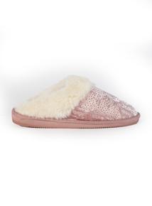 Pink Velvet Sparkle Mule Slipper