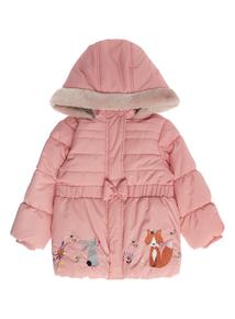 Girls Pink Fox Border Appliqué Coat (9 months - 5 years)