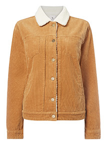 Camel Cord Borg Lined Jacket