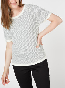 Grey Textured Knit Top