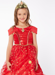 Red Disney Belle With Tiara Outfit (2-10 years)
