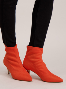 Online Exclusive Orange 'Sock' Ankle Boots