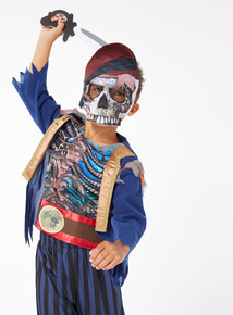 Blue Halloween Pirate Skeleton with Mask Outfit  (3-12 years)
