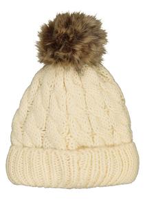 Cream Cable Knit Pom Pom Bobble Hat