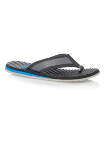 Grey Stripe Flip Flops