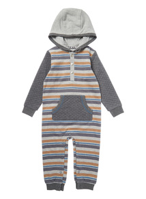 Grey Hooded Sweat Quilted Romper (0-24 months)