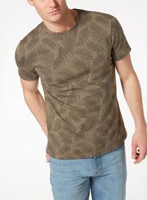 Green Leaf Print Jacquard T-Shirt