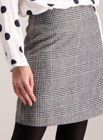 Monochrome Boucle Check Mini Skirt