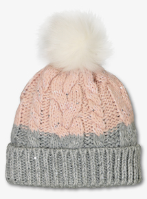Pink Sparkle Cable Knit Beanie (3-16 years)