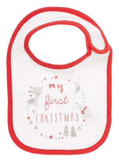 My First Christmas.Sku Aw17 Ph2 Xmas My First Xmas Single Bib White