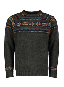 Grey Fairisle Crew Neck Jumper