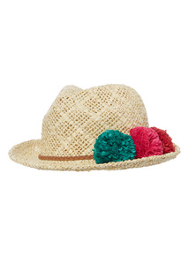 Multicoloured Paper Pom Pom Trilby Hat