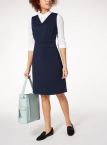 Navy Textured Rib Ponte Sleeveless Dress