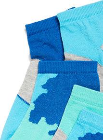 3 Pack Blue Camo Print Trainer Socks (3 infant-6.5 adult)