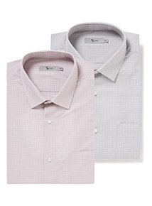 Grey and Pink Check Tailored Fit 2 Pack Shirts