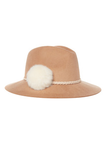Girls Brown Felt Fedora With Bow