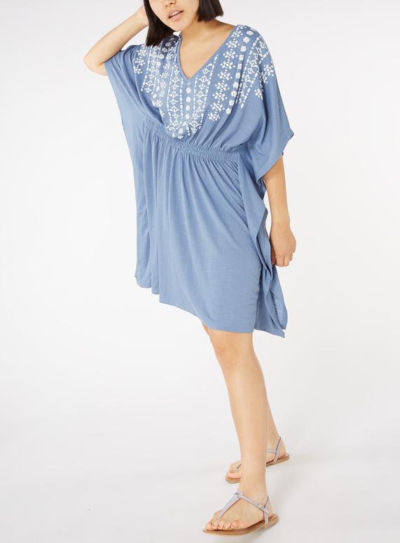 Online Exclusive Blue Floral Textured Kimono Dress