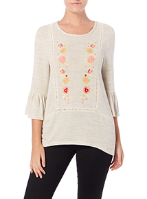 Cream Embroidered Knitlook Top