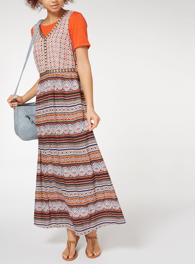 Bohemian Border Print Maxi Dress