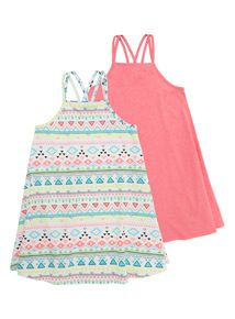 Neon Patterned And Plain Dress 2 Pack (3 - 12 years)