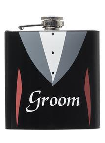 Black stainless steel 'Groom' wedding day hip flask