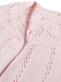 Pink Buttoned Knitted Cardigan (Newborn-12 months)