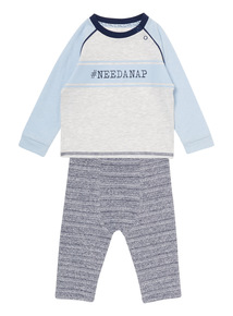 Boys Grey Need A Nap Jogger Set (0-12 months)