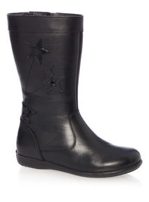 Girls Black Leather Star Boot