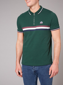 Admiral Green Stripe Zip Neck Polo Shirt