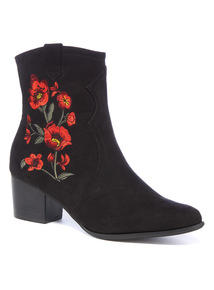 Black Embroidered Ankle Boots