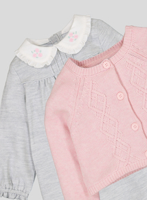 Grey Corduroy Dress & Cardigan Set (Newborn - 12 months)