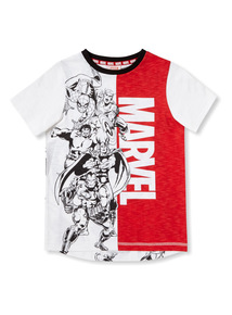 White and Red Marvel Comics T-shirt (9 months-6 years)