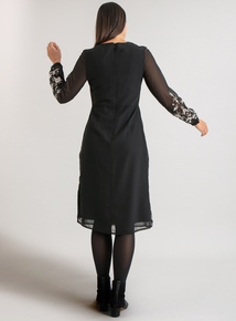 Premium Black Embroidered Midi Dress