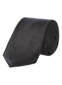 Black Slim Herringbone Tie