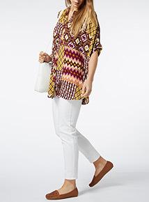 Multicoloured Patterned Oversized Shirt