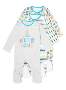 3 Pack Multicoloured Monster Sleepsuits (Newborn- 24 months)